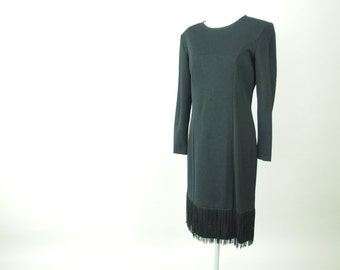 Vintage 1980's Black Wiggle Fringed Party Dress, Modern Size 6 to 8, Small