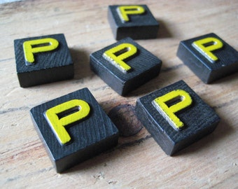 Vintage Wood Anagram Game Pieces, P Initial, Create your own word or saying, Word Art, Home Decor, Custom Order