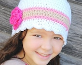 30 Colors Custom Girls Hat 4T to Preteen Toddler Girl Hat Crochet Flower Hat Striped Flapper Beanie Toddler Girl Clothes Spring Hat Cotton