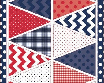 Riley Blake Designs Holiday Banners - Patriotic Blue (P560-Blue) - 1 panel