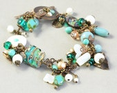 Brass Charm Bracelet, Aqua Mint Brown Bracelet, Beach Bracelet, Handmade