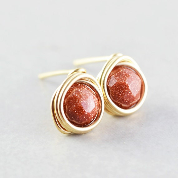 Goldstone Post Earrings, Warm Brown Studs, Chestnut Brown Posts