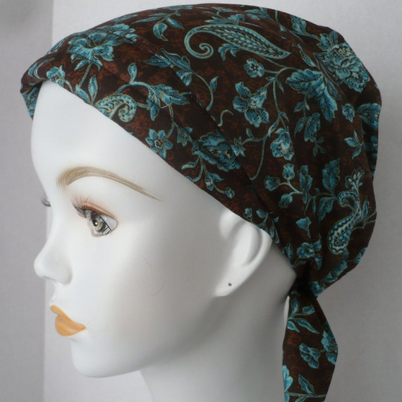 brown paisley chemo cancer hair loss scarf by