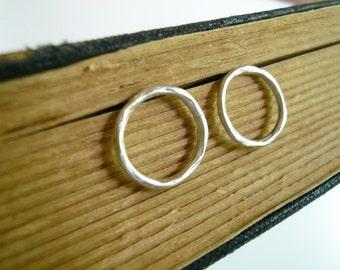 Small Circle Post Hoops - Organic Twig Circle Earrings, Dainty Sterling Silver Post Stud Earrings