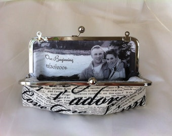 Bridal Clutch with Photo LIning Wedding bridesmaid Clutch Personalized Custom with Inscription Je t'aime or your choice