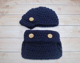 Baby Boy Diaper Cover Set in Navy Blue, Newborn Boy Newsboy Hat, Infant Boy Diaper Cover Outfit, Baby Boy Hat, Boy Newborn Beanie Photo Prop