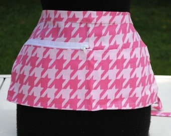 Vendor Apron Server Apron Travel Apron Pink Houndstooth Twill