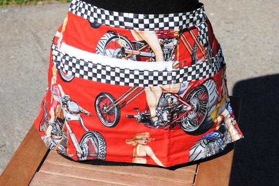 Vendor Apron Biker Girl Pinups Red or Black Your Choice Alexander Henry