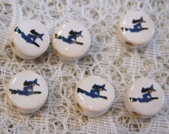 Witch Beads in Flight on a Broom Stick 6 Round Peruvian Ceramic Large Hole Beads 9mm