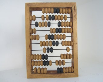 Back to School Abacus Primitive Calculator Old World Home School House Office Decor Shelf Display Counting Beads Collectible Shabby Chic