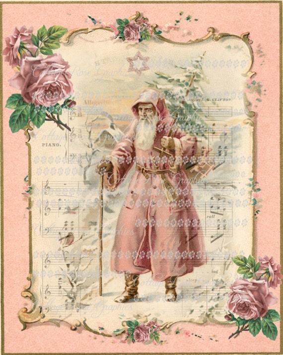abbastanza Santa Vintage Natale Rosa vittoriana con Rose grande KF99
