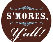 DIGITAL DOWNLOAD : s'mores y'all hang tag in chocolate, blue and white