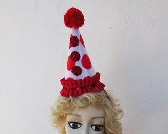 Sale 50% Off, Red Polka Dot Clown Hat, Halloween Costume, Pierrot Costume, Circus, Burlesque, Batcakes Couture