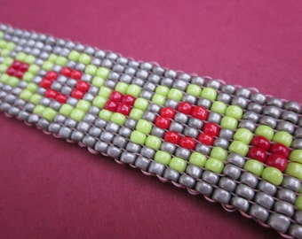 rose garden hand-loomed square stitch bracelet - red, spring green, platinum seed beads