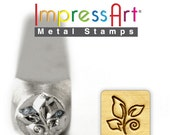 """FREE SHIPPING Leaf Swirl METaL STaMP 6mm 1/4"""" Steel Punch ImpressArt Stamping Whimsical Tree Foliage Tool Jewelry Making Tool"""