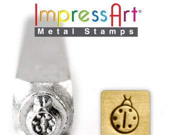 """FREE SHIPPING Lady Bug Stamp,  6mm 1/4"""", Metal Stamp,  ImpressArt Stamping Insect Bug Jewellery Tool Jewelry Making Tool"""