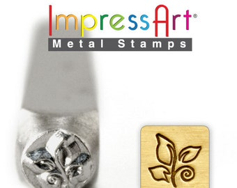 """Leaf Swirl METaL STaMP 6mm 1/4"""" Steel Punch ImpressArt Stamping Whimsical Tree Foliage Tool Jewelry Making Tool"""