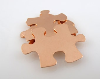 """Sale - Copper Stamping Blank Puzzle Personalized Jewelry  1 1/4"""" x 7/8"""" 24 Gauge Qty. 6"""