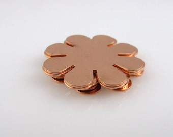 "Sale - COPPER 8-PETAL, 15/16"" (24mm) Stamping Blank Personalized Jewelry Floral Nature Scrapbooking 24 Gauge Qty 6"