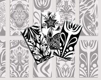 Digital Collage sheet Black White Damask Dominos