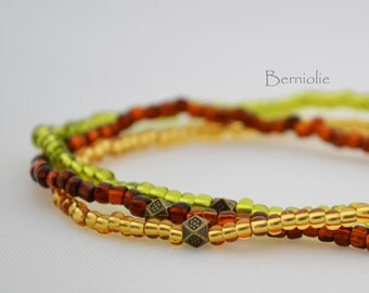 Beaded bracelet, brown, gold and green shades, glass seedbeads, stretchy, 7 inch, S17