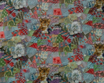 Children,s Novelty Quilt Fabric  Kittens Toys on an Overall Quilt Pattern