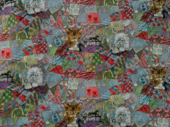 Childrens novelty quilt fabric kittens toys on an overall for Childrens quilt fabric