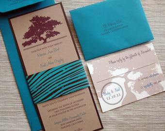 Oak Tree Rustic Wedding Invitations with Woodgrain for Fall or Winter Weddings - DESIGN FEE