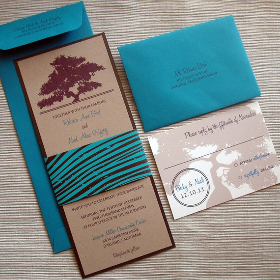 Oak Tree Rustic Wedding Invitations with Woodgrain for Fall or Winter Weddings - DESIGN FEE