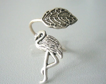 Silver flamingo ring with a leaf wrap ring, adjustable ring, animal ring, silver ring, statement ring