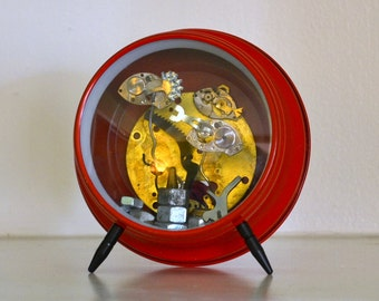 MADE TO ORDER, Steampunk Fish in a Vintage Alarm Clock Aquarium - Assemblage Art Robot Sculpture