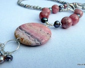 Sunset Necklace, Natural Pinks, Silver, Grey, Long & Lovely, Sea Sky Sand Evening Colors, Imagination Pendant Stone, Wire-wrapped Freshness