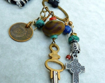 Svetochka - Vintage Coin Cross & Clock Key Necklace USSR Coin Mixed Metal Artisan Lampwork on Leather Jewelry Ethnic Organic Eclectic