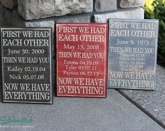 First We Had Each Other Then We Had You  -  Quote Saying Distressed Wooden Sign - Wall Sign - Family Sign- Home Decor - Wood Signs