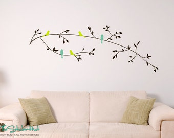 5 Birds on Flowering Branches - Home Decor - Nursery Decor - Wall Graphics - Vinyl Wall Art Text Stickers Decals Graphics 1589