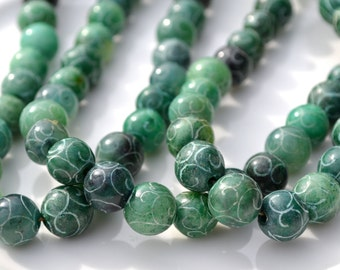 Carved Green Jade (dyed) 10mm Round Beads    10