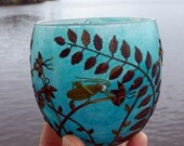 Grasshopper amongst the Wilflowers Sculpted onto a Turquoise Recycled Glass Candle Holder