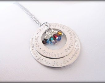 Personalized Silver Necklace - 2 Layer Extra Large Engraved Hand Stamped Eternity Necklace
