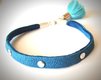 Tassel bracelet with Rivets and Blue Leather fringe pom