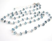 London Blue Topaz Necklace, Rosary Style, Ocean Blue, Sterling Silver, November Birthstone