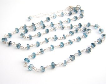 London Blue Topaz Necklace, Rosary Style, Ocean Blue, Sterling Silver, November Birthstone