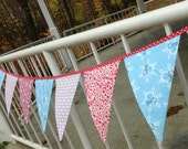 Banner Bunting Pennant Garland Winter Snowflake Blizzard Reusable Fabric