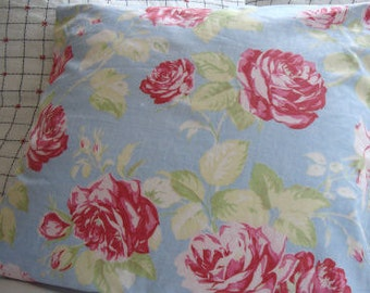 Cottage Blue Pillow Cover, Red Roses, Shabby Chic, Blue Ticking, Farmhouse, Loft,Urban