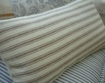 French Cottage Down Pillow Vintage Look Taupe Ticking Stripes Shabby Chic 12X20 Insert