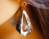 Sterling silver, quartz crystal ball earrings, dangle, gift