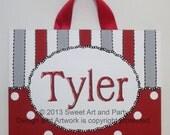 Red, Gray, Personalized, Canvas Name sign, Stripes, dots, nursery wall art, kids monogram, canvas door sign, canvas door hanger, custom art