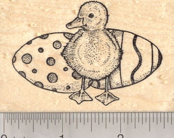 Easter Duckling Rubber Stamp, Baby Duck with Colored Eggs K23513  Wood Mounted