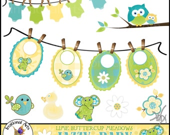 Jazzy Baby Lime Buttercup Meadows - 12 digital clipart graphics bibs clothesline tshirt elephant birdie daisy owls lime [INSTANT DOWNLOAD]