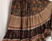 25 yd Block Print Veg Dye Skirt Unleash the gypsy with Paisleys Bohemian tribal fusion ATS Flamenco