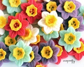 10pc two tone daffodil cabochons, matte resin, a flatback cab for gluing to hairpins and rings 16mm